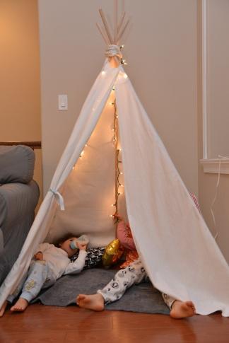 חלביק בבוקר יום ההולדת. חונכות את האוהל החדש