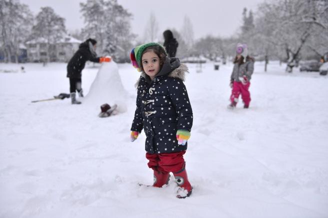 מחליקים על השלג בפארק